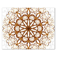 Golden Filigree Flake On White Rectangular Jigsaw Puzzl