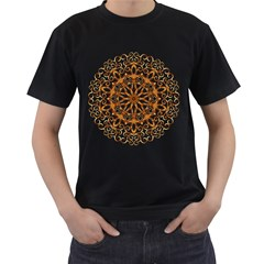Golden Filigree Flake On White Men s T Shirt (black) (two Sided)