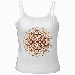 Golden Filigree Flake On White Ladies Camisoles