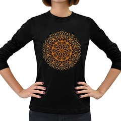 Golden Filigree Flake On White Women s Long Sleeve Dark T Shirts