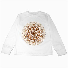 Golden Filigree Flake On White Kids Long Sleeve T-Shirts