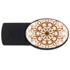 Golden Filigree Flake On White Usb Flash Drive Oval (4 Gb)