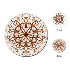 Golden Filigree Flake On White Playing Cards (Round)