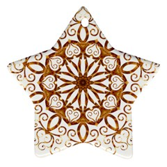 Golden Filigree Flake On White Star Ornament (two Sides)