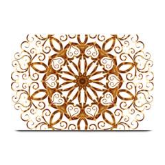 Golden Filigree Flake On White Plate Mats