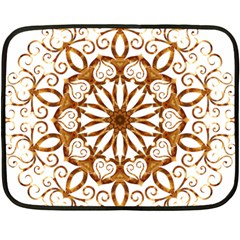 Golden Filigree Flake On White Fleece Blanket (mini)