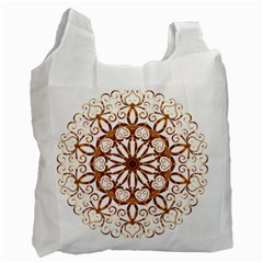 Golden Filigree Flake On White Recycle Bag (one Side)