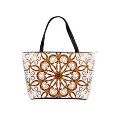 Golden Filigree Flake On White Shoulder Handbags
