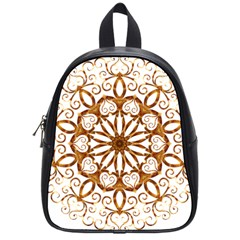 Golden Filigree Flake On White School Bags (small)