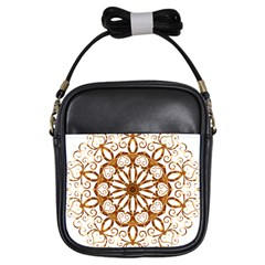 Golden Filigree Flake On White Girls Sling Bags
