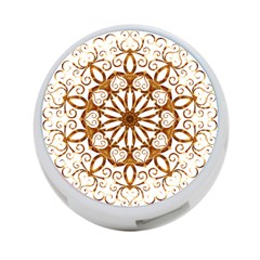 Golden Filigree Flake On White 4 Port Usb Hub (two Sides)