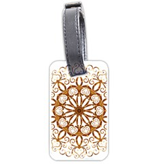 Golden Filigree Flake On White Luggage Tags (One Side)