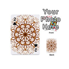 Golden Filigree Flake On White Playing Cards 54 (Mini)