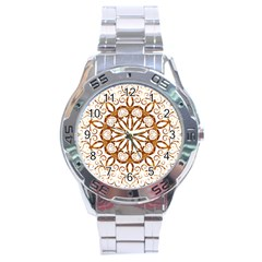 Golden Filigree Flake On White Stainless Steel Analogue Watch
