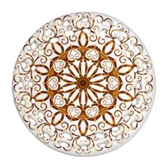 Golden Filigree Flake On White Ornament (round Filigree)