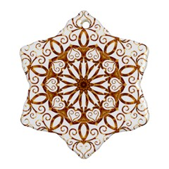 Golden Filigree Flake On White Snowflake Ornament (two Sides)