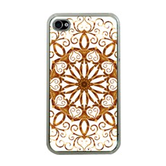 Golden Filigree Flake On White Apple iPhone 4 Case (Clear)