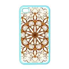 Golden Filigree Flake On White Apple iPhone 4 Case (Color)