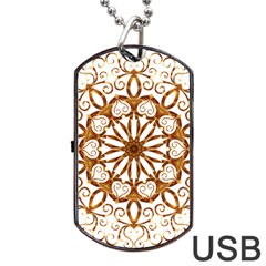 Golden Filigree Flake On White Dog Tag USB Flash (Two Sides)