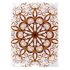 Golden Filigree Flake On White Apple iPad 3/4 Hardshell Case (Compatible with Smart Cover)