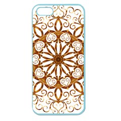Golden Filigree Flake On White Apple Seamless iPhone 5 Case (Color)