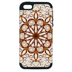Golden Filigree Flake On White Apple iPhone 5 Hardshell Case (PC+Silicone)