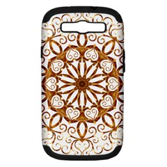 Golden Filigree Flake On White Samsung Galaxy S Iii Hardshell Case (pc+silicone)