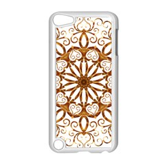 Golden Filigree Flake On White Apple iPod Touch 5 Case (White)