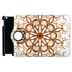 Golden Filigree Flake On White Apple Ipad 2 Flip 360 Case