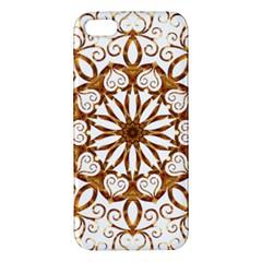 Golden Filigree Flake On White Apple Iphone 5 Premium Hardshell Case