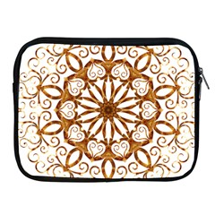 Golden Filigree Flake On White Apple Ipad 2/3/4 Zipper Cases