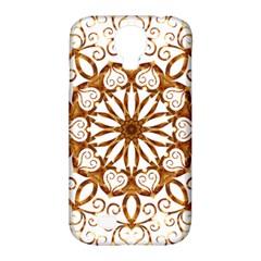 Golden Filigree Flake On White Samsung Galaxy S4 Classic Hardshell Case (pc+silicone)