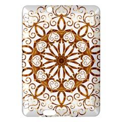 Golden Filigree Flake On White Kindle Fire HDX Hardshell Case