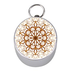 Golden Filigree Flake On White Mini Silver Compasses