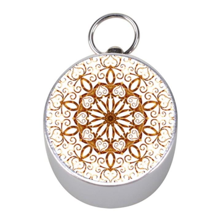 Golden Filigree Flake On White Mini Silver Compasses