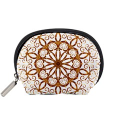 Golden Filigree Flake On White Accessory Pouches (Small)