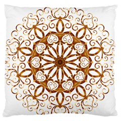 Golden Filigree Flake On White Standard Flano Cushion Case (one Side)