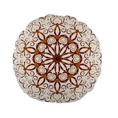 Golden Filigree Flake On White Standard 15  Premium Flano Round Cushions