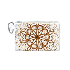 Golden Filigree Flake On White Canvas Cosmetic Bag (s)