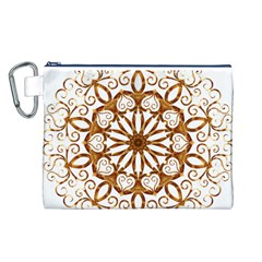 Golden Filigree Flake On White Canvas Cosmetic Bag (L)