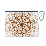 Golden Filigree Flake On White Canvas Cosmetic Bag (L) Back