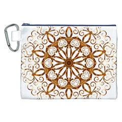 Golden Filigree Flake On White Canvas Cosmetic Bag (xxl)