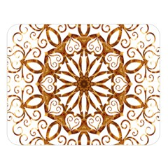 Golden Filigree Flake On White Double Sided Flano Blanket (large)