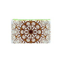 Golden Filigree Flake On White Cosmetic Bag (XS)