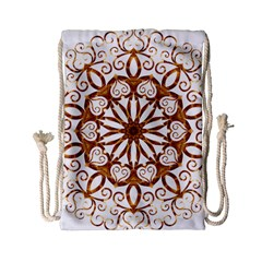 Golden Filigree Flake On White Drawstring Bag (Small)