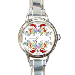Fractal Kaleidoscope Of A Dragon Head Round Italian Charm Watch