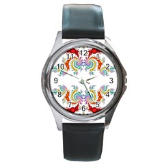 Fractal Kaleidoscope Of A Dragon Head Round Metal Watch