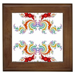 Fractal Kaleidoscope Of A Dragon Head Framed Tiles