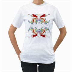 Fractal Kaleidoscope Of A Dragon Head Women s T Shirt (white) (two Sided)