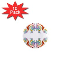 Fractal Kaleidoscope Of A Dragon Head 1  Mini Magnet (10 Pack)